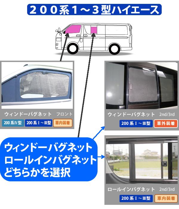 5ドア セカンド左右 ロールインバグネット 200系 IV型 標準幅 [H25.12〜] (2枚) ロング セット (両側スライドドア) ハイエース